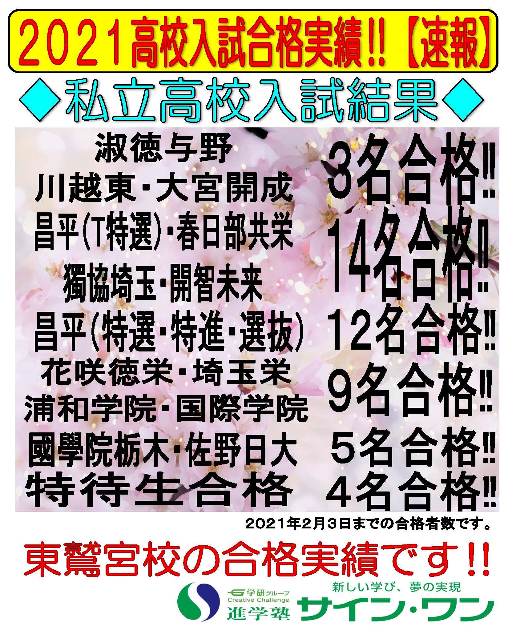 20私立高校合格実績【東鷲宮】
