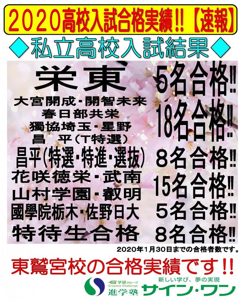 19私立高校合格実績【東鷲宮】